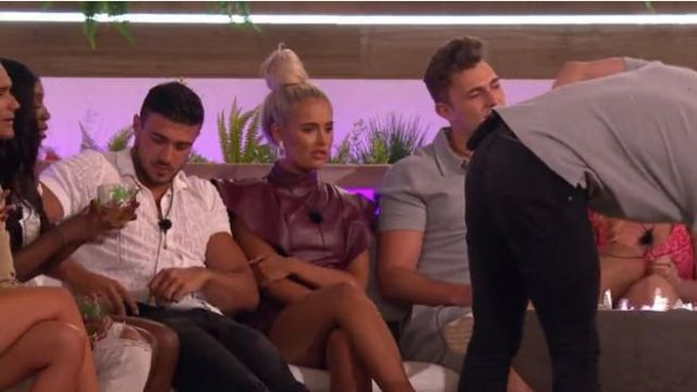 Boohoo PU Belted Frill Shoulder Bodycon Dress outfit worn by Molly-Mae Hague in Love Island (S05E08) - TV Show Outfits and Products