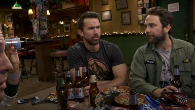 Boozehound Grey Brewing Co T Shirt outfit worn by Mac (Rob McElhenney) in It's Always Sunny in Philadelphia Season 14 Episode 8 - TV Show Outfits and Products