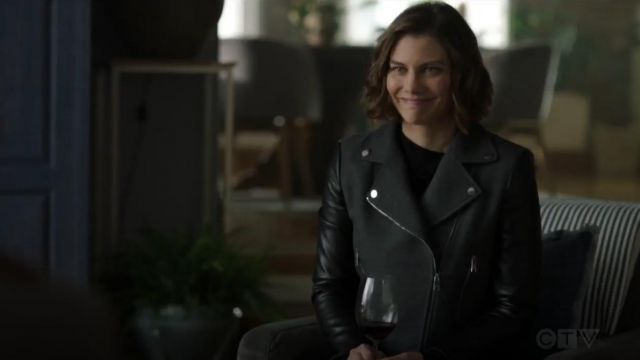 Boss Judelina Mixed Media Moto Jacket outfit worn by Frankie Trowbridge (Lauren Cohan) in Whiskey Cavalier (S01E12) - TV Show Outfits and Products