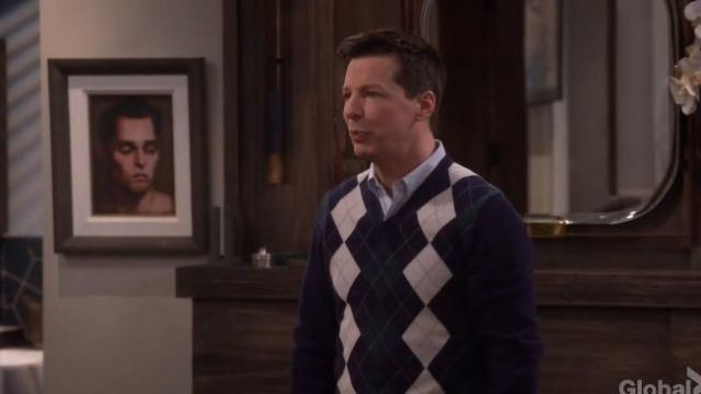 Brooks Brothers Cashmere Argyle V-Neck Sweater outfit worn by Jack McFarland (Sean Hayes) in Will & Grace (S01E16) - TV Show Outfits and Products