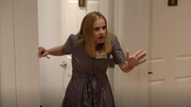 Brooks Brothers Striped Cotton Poplin Shirt Dress outfit seen on Amy Brookheimer (Anna Chlumsky) in Veep (S07E02) - TV Show Outfits and Products
