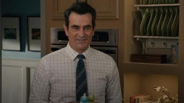 Brooks Brothers white regent fit oxford windowpane sport shirt outfit worn by Phil Dunphy (Ty Burrell) in Modern Family Season 11 Episode 2 - TV Show Outfits and Products