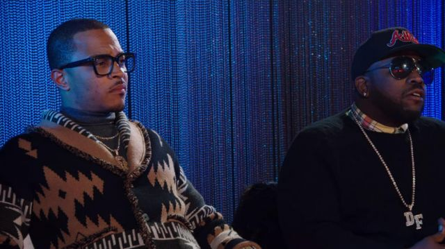 Brown cashmere geometric knit cardigan outfit worn by T.I. in Rhythm + Flow (S01E03) - TV Show Outfits and Products