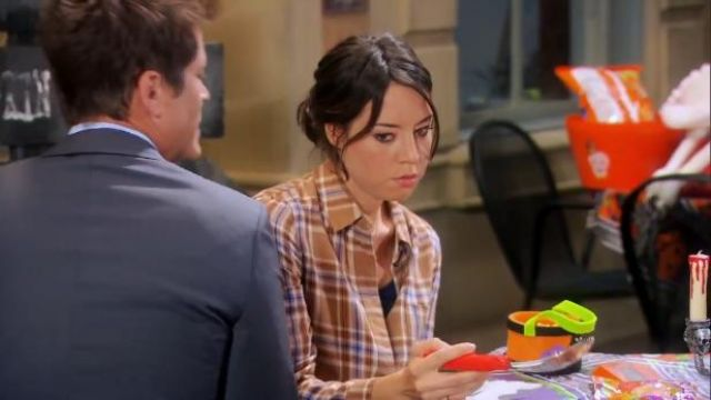 Burberry Stripe Dtail Vintage Check Cotton Shirt outfit worn by April Ludgate (Aubrey Plaza) in Parks and Recreation (S06E07) - TV Show Outfits and Products