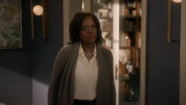 Burberry ring-pierced silk oversized shirt outfit worn by Annalise Keating (Viola Davis) in How to Get Away with Murder Season 6 Episode 2 - TV Show Outfits and Products