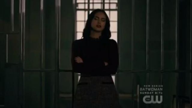 Burgundy Frill Trim Sweater outfit worn by Veronica Lodge (Camila Mendes) in Riverdale Season 4 Episode 5 - TV Show Outfits and Products