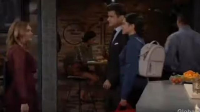 Calpak Kaya Faux Leather Round Backpack in Stone outfit worn by Lola Rosales (Sasha Calle) in The Young and the Restless October 9, 2019 - TV Show Outfits and Products
