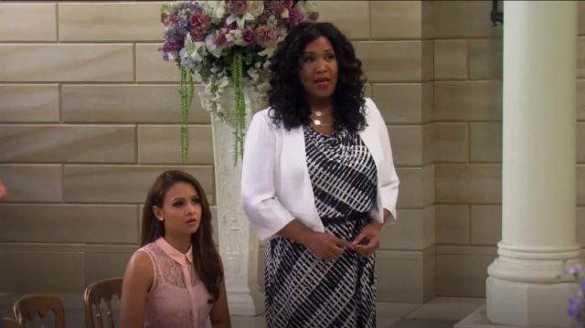 Calvin Klein Cap Sleeve Geo Print Cowl Neck Dress outfit worn by Yolanda (Kym Whitley) in Young & Hungry (S01E10) - TV Show Outfits and Products