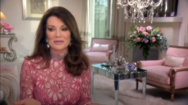 Calvin Klein Mock-Neck Long-Sleeve Sheer Lace Blouse outfit worn by Lisa Vanderpump in The Real Housewives of Beverly Hills - TV Show Outfits and Products