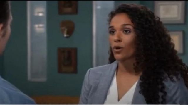 Calvin Klein One-Button Shawl-Collar Blazer outfit worn by Jordan Ashford (Nicole Henry) as seen on General Hospital October 10, 2019 - TV Show Outfits and Products