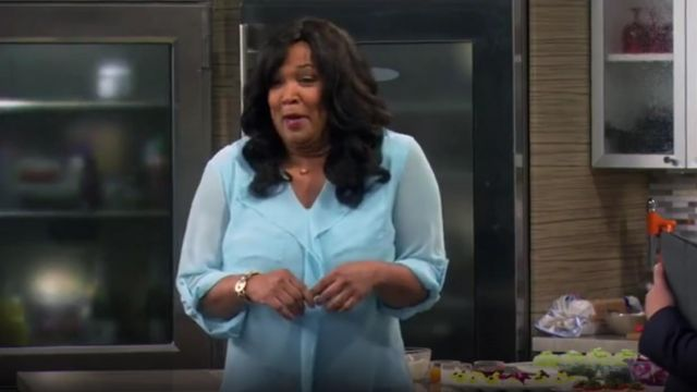 Calvin Klein Ruffle Front Pocket Blouse outfit worn by Yolanda (Kym Whitley) in Young & Hungry (S01E04) - TV Show Outfits and Products