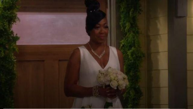 Calvin Klein White Vow Renewal/wedding Dress outfit worn by Tina (Tichina Arnold) in The Neighborhood Season 02 Episode 07 - TV Show Outfits and Products