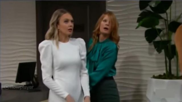 Calvin klein Puff Sleeve Cream Dress outfit worn by Abby Newman (Melissa Ordway) as seen on The Young and the Restless November 13, 2019 - TV Show Outfits and Products