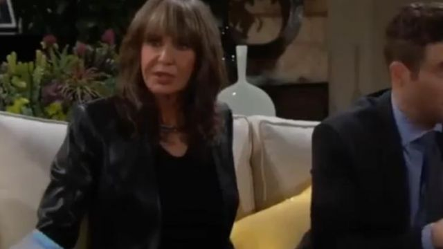 Calvin klein Women's Leather Moto Jacket outfit worn by Jill Foster Abbott (Jess Walton) on The Young and the Restless October 1, 2019 - TV Show Outfits and Products