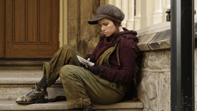 Cap in tweed Jennifer Goines (Emily Hampshire) seen in 12 Monkeys Season 3 Episode 2 - TV Show Outfits and Products