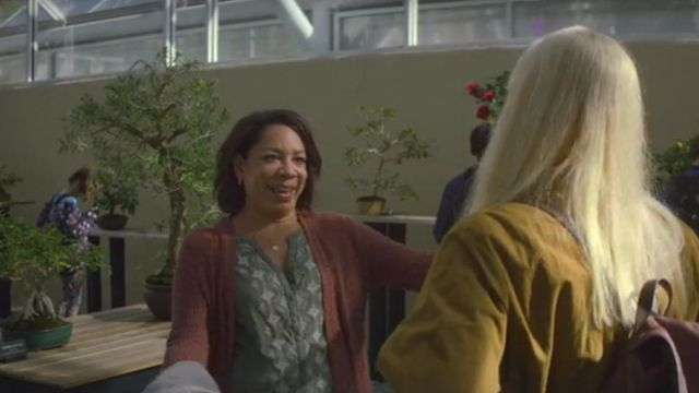 Cardigan pink Patricia Lugo (Selenis Leyva) seen in Maniac (Season 1 Episode 2) - TV Show Outfits and Products