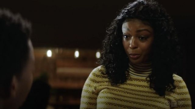 Fashion Trends 2021: Carven Yellow Striped turtleneck outfit seen on Ali Finer (Javicia Leslie) in God Friended Me S01E13