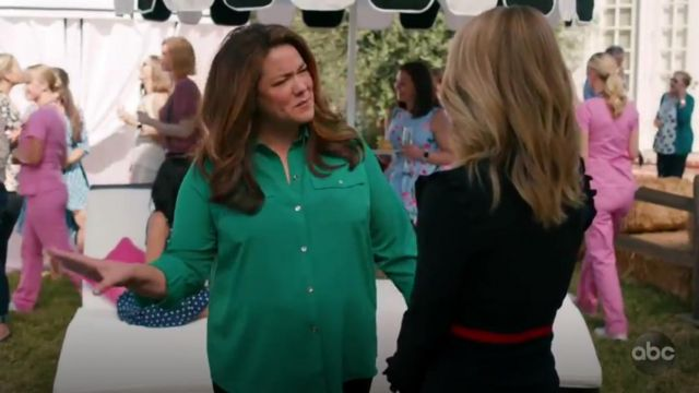 Charter Club Two pocket shirt outfit worn by Katie Otto (Katy Mixon) in American Housewife Season 4 Episode 2 - TV Show Outfits and Products