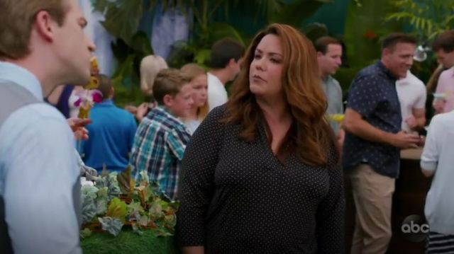 Charter Club printed V Neck top outfit worn by Katie Otto (Katy Mixon) in American Housewife Season 4 Episode 2 - TV Show Outfits and Products