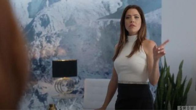 Chiara Boni La Petite Robe Black and White High Neck Dress outfit worn by Andrea Rojas (Julia Gonzalo) in Supergirl Season 05 Episode 05 - TV Show Outfits and Products
