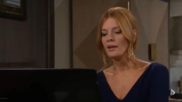 Chiara Boni La Petite Robe Navy Ruffle Dress outfit worn by Phyllis Summers (Michelle Stafford) as seen on The Young and the Restless November 6, 2019 - TV Show Outfits and Products