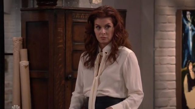Chloe Ring Detail Tie Neck Silk Crêpe de Chine Blouse outfit worn by Grace Adler (Debra Messing) in Will & Grace (S02E12) - TV Show Outfits and Products