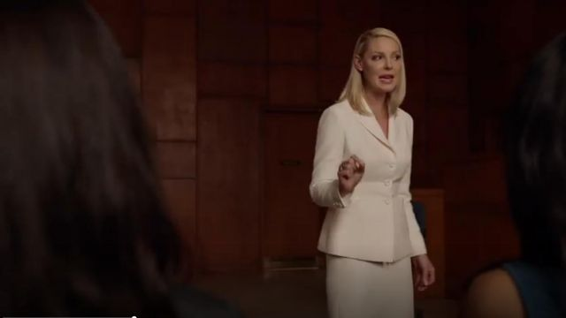 Christian Dior Structured Notched Lapel Blazer outfit seen on Samantha Wheeler (Katherine Heigl) in Suits (S08E10) - TV Show Outfits and Products