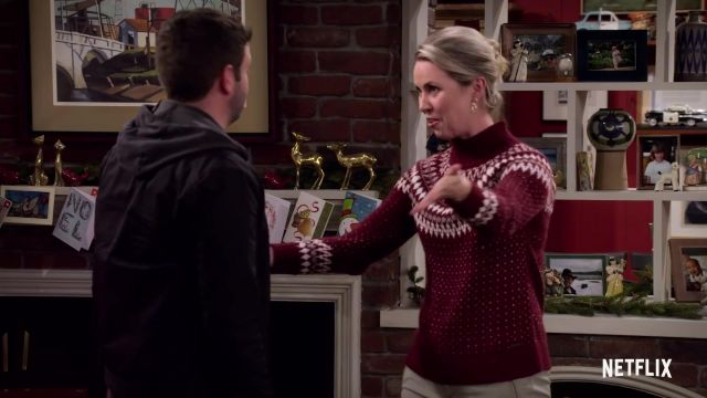 Christmas reindeer snowflakes sweater outfit worn by Patsy (Siobhan Murphy) in Merry Happy Whatever (S01) - TV Show Outfits and Products