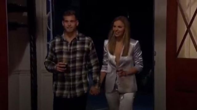 Cinq à Sept Silver Pant outfit worn by Hannah Brown in The Bachelorette (Season15 Episode04) - TV Show Outfits and Products