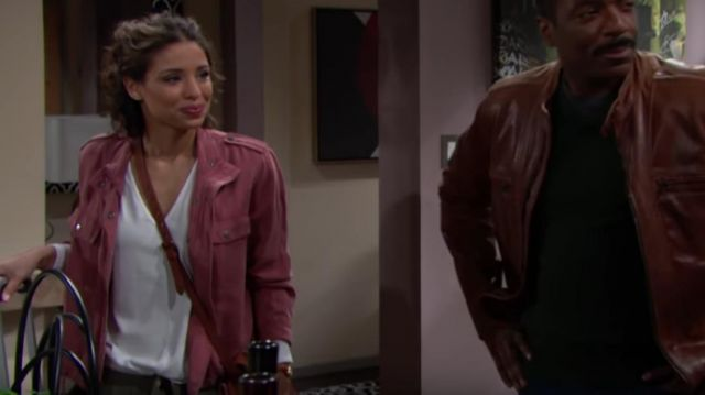 Club Monaco Rylena Top outfit worn by Brytni Sarpy as seen in The Young and the Restless March 2019