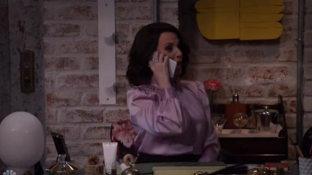 Co Cinched-Neck Long-Sleeve Satin Blouse outfit worn by Karen Walker (Megan Mullally) in Will & Grace (S02E16) - TV Show Outfits and Products
