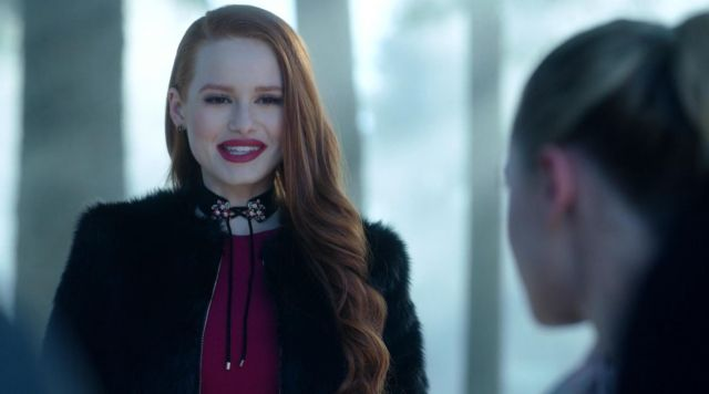 Collar flush with neck Zara of Cheryl Blossom (Madelaine Petsch) seen in Riverdale Season 1E11 - TV Show Outfits and Products