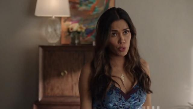 Colorblock Floral Organza Sleeveless High Low outfit worn by Cristal Jennings (Daniella Alonso) in Dynasty Season 3 Episode 1 - TV Show Outfits and Products