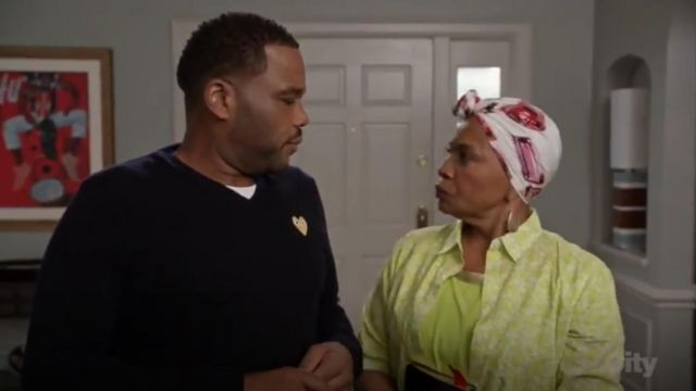 Comme Des Garcons Play Heart Embroidered Sweater outfit worn by Andre 'Dre' Johnson (Anthony Anderson) in black-ish (S03E02) - TV Show Outfits and Products