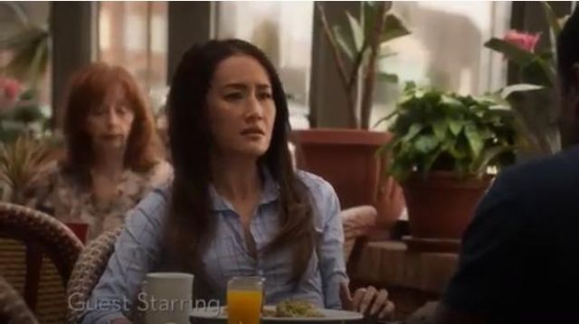Crinkled Blue Windowpane Poplin Blouse outfit worn by Hannah Wells (Maggie Q) in Designated Survivor (Season 03 Episode 05) - TV Show Outfits and Products