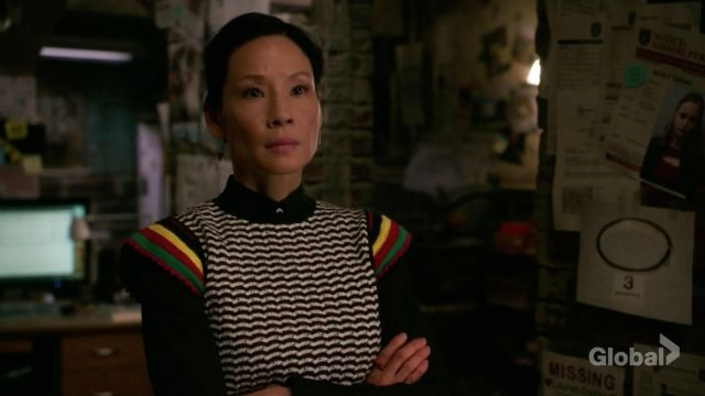 Crochet sweater Zara outfit worn by Dr. Joan Watson (Lucy Liu) seen in Elementary (Season 6E17) - TV Show Outfits and Products