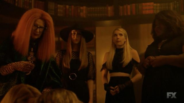 Crop top in black lace Alice + Olivia Madison Montgomery (Emma Roberts) seen in American Horror Story Season 8 Episode 5 - TV Show Outfits and Products
