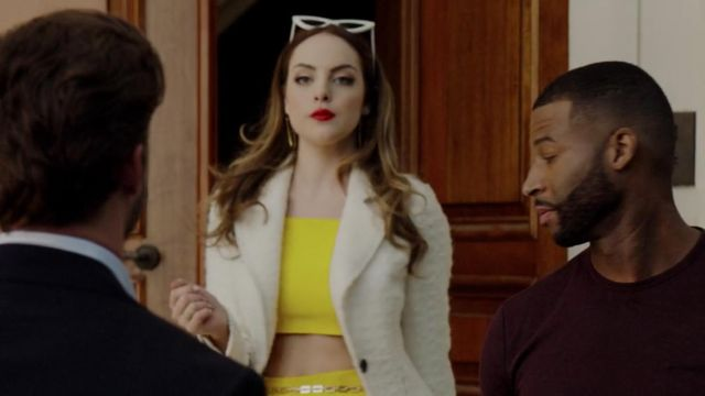 Crop top yellow Fallon Carrington (Elizabeth Gillies) seen in Dynasty (Season 2 Episode 1) - TV Show Outfits and Products