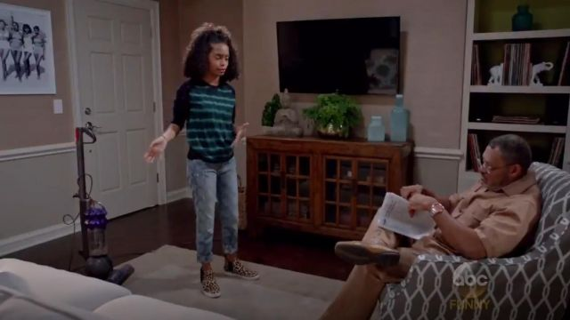 Current Elliott The Fling Patchwork Boyfriend Jeans outfit worn by Zoey Johnson (Yara Shahidi) in black-ish (S02E02) - TV Show Outfits and Products