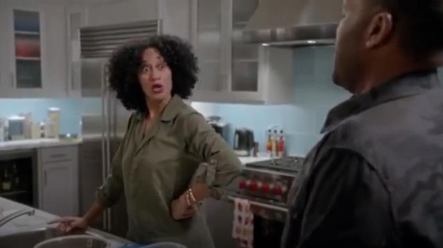 Current Elliott The Mechanic Cotton Twill Jumpsuit outfit worn by Rainbow Johnson (Tracee Ellis Ross) in black-ish (S01E09) - TV Show Outfits and Products