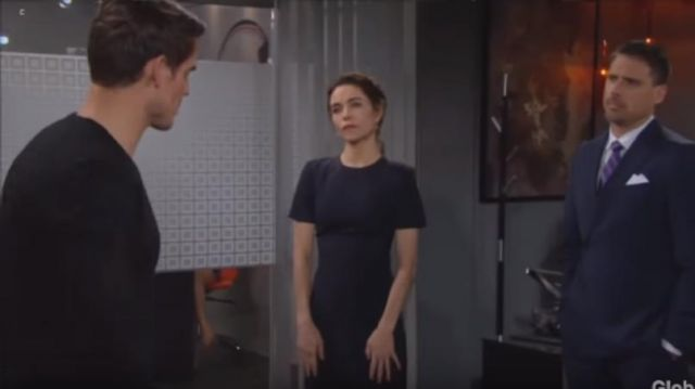 DKNY Pinstripe Asymmetrical Dress outfit worn by Victoria Newman (Amelia Heinle) as seen in The Young and the Restless May 24, 2019 - TV Show Outfits and Products
