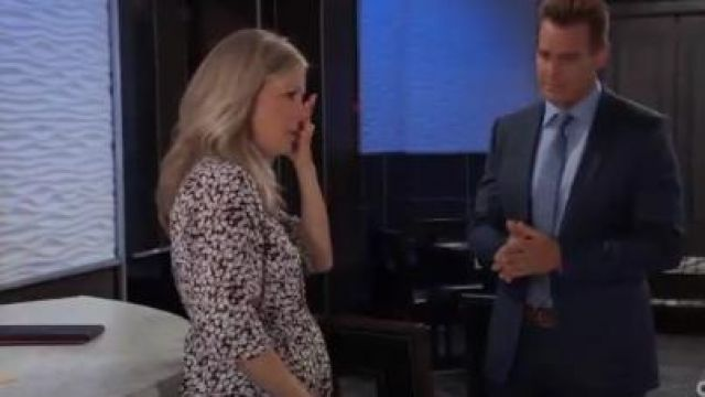 Daniel Rainn Tie Front Maternity Tunic outfit worn by Laura Wright as seen in General Hospital June 13,2019 - TV Show Outfits and Products