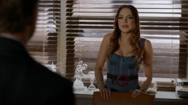 Denim Bustier Bodice Dress outfit worn by Fallon Carrington (Elizabeth Gillies) in Dynasty Season 03 Episode 06 - TV Show Outfits and Products