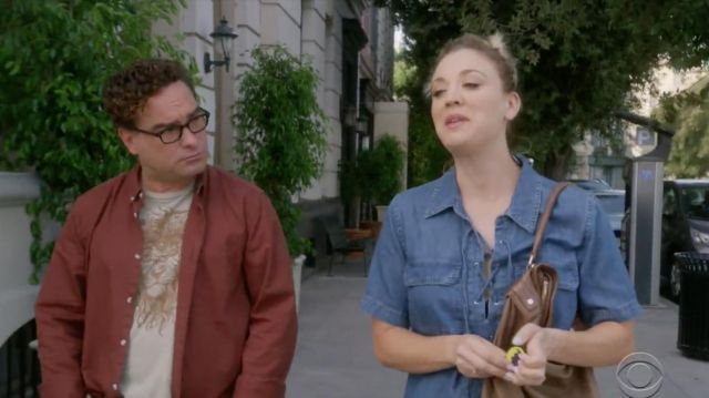 Denim dress Equipment of Penny (Kaley Cuoco) seen in The Big Bang Theory S12 Episode 2 - TV Show Outfits and Products