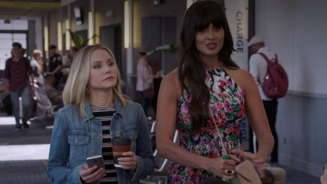 Denim jacket Paige outfit worn by Eleanor Shellstrop (Kristen Bell) seen in The Good Place Season 3 Episode 5 - TV Show Outfits and Products