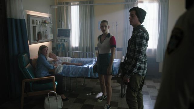Denim skirt Veronica Beard outfit worn by Betty Cooper (Lili Reinhart) seen in Riverdale Season 3 Episode 2 - TV Show Outfits and Products