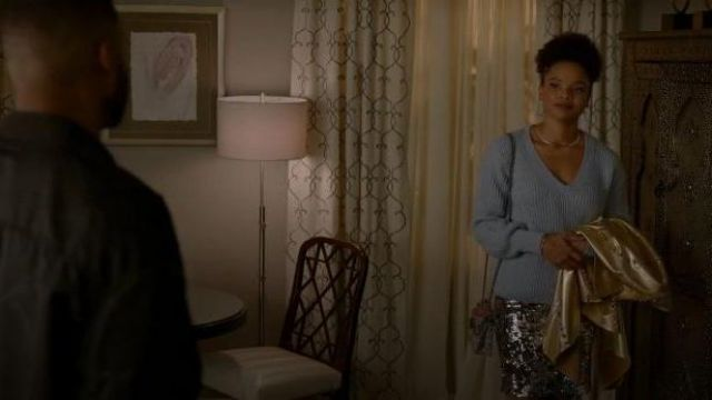 Derek Lam 10 Crosby Blue V Neck Knitted Sweater outfit worn by Monica Colby (Wakeema Hollis) in Dynasty Season 03 Episode 06 - TV Show Outfits and Products