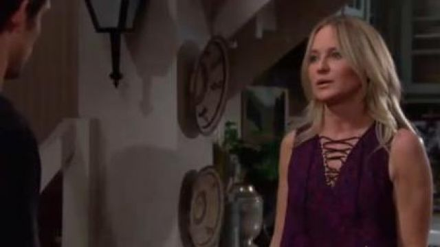 Derek Lam Laced Printed Silk Handkerchief Tank by 10 Crosby outfit worn by Sharon Collins Newman (Sharon Case) in The Young and the Restless June 18,2019 - TV Show Outfits and Products