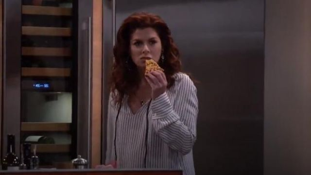Derek Lam Striped Silk Blouse outfit worn by Grace Adler (Debra Messing) in Will & Grace (S02E15) - TV Show Outfits and Products