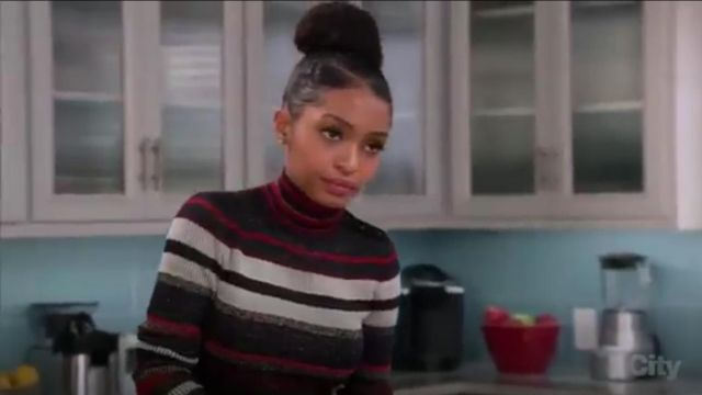 Diane Von Furstenberg Leela Metallic Wool Blend Turtleneck outfit worn by Rainbow Johnson (Tracee Ellis Ross) in black-ish (Season 03 Episode 12) - TV Show Outfits and Products